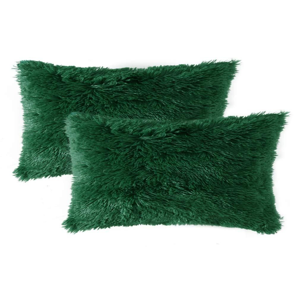 Luxury Faux Fur Throw Pillow Cover Deluxe Decorative Plush Pillow Case Cushion Cover Shell for Sofa Bedroom Car 12 x 20 Inch, Dark Green / 12''x20''
