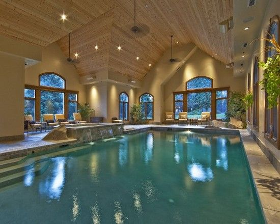 This Pool House Features A Large Pool With Spa Vaulted Cedar Ceilings And A Nana Wall System Indoor Swimming Pool Design Indoor Pool Design Indoor Pool House