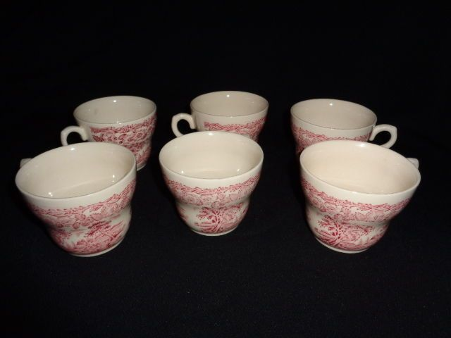 6 English Ironstone England Pink / Red Transferware Cup Country ...