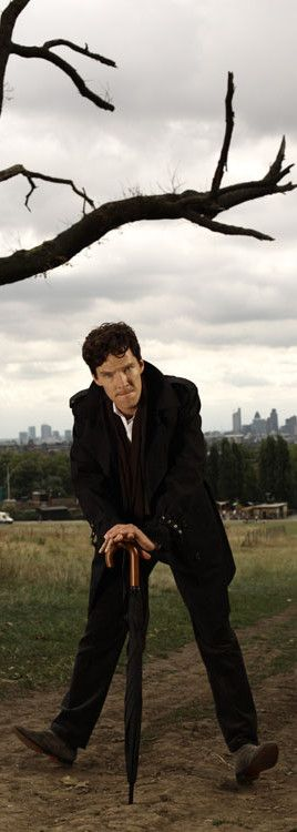Benedict Cumberbatch The Sunday Times Photoshoot. (Give Mycroft his umbrella back, now, Sherlock. That's not very nice.)