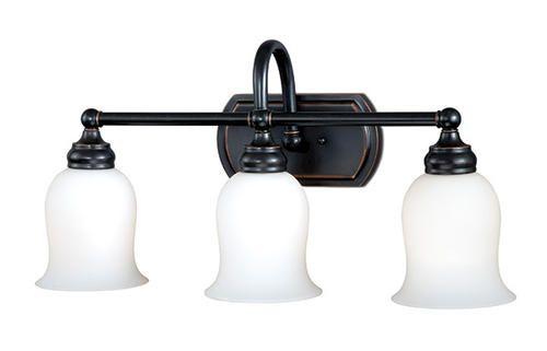 salerno 3 light 22 75 oil rubbed bronze vanity light at menards rh pinterest com