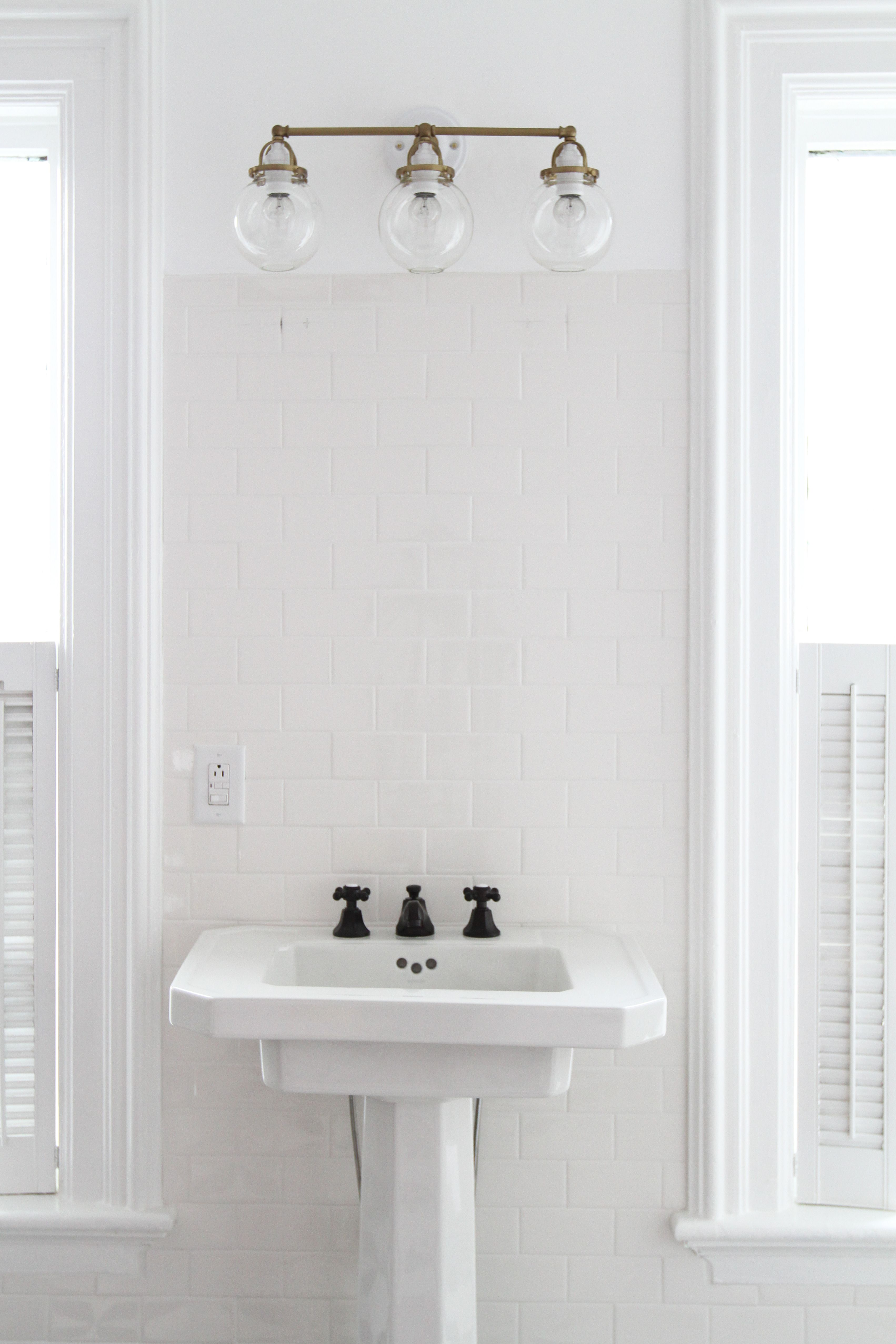 How to Hang a Bathroom Mirror on Ceramic Tile — Apartment Therapy ...