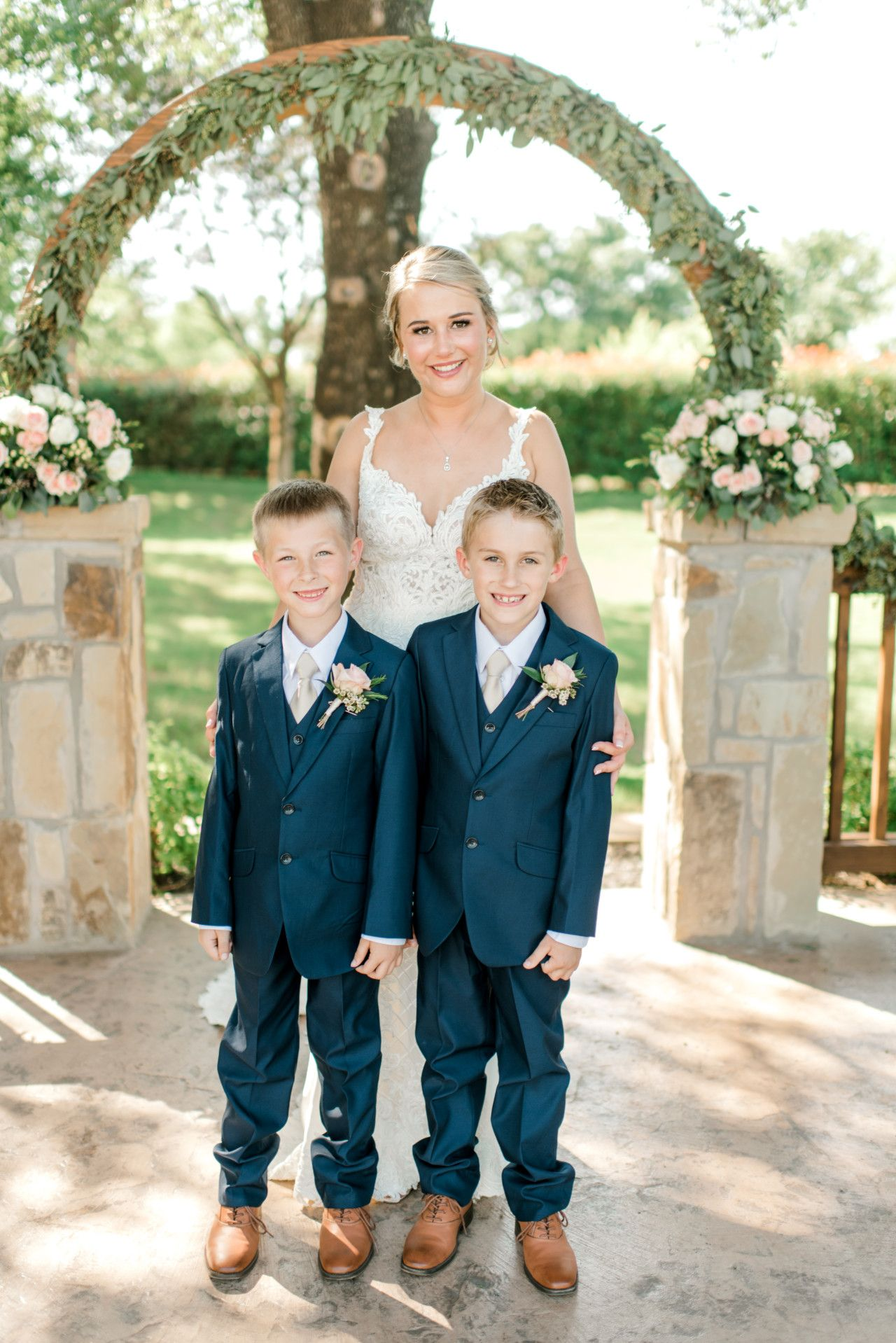Ring Bearers In Blue Suits Blush Pink Navy Blue Wedding Ideas