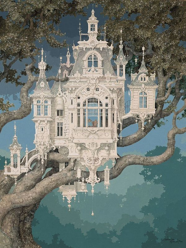 Daniel Merriam The Golden Ticket Fantasy Landscape Surreal Art Fantasy Castle