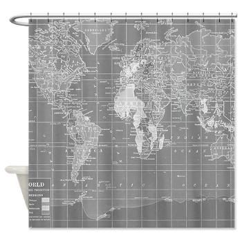 Shower Curtain   Minimalist Grey Vintage Map   Home Decor Travel Decor  Wanderlust   Bathroom