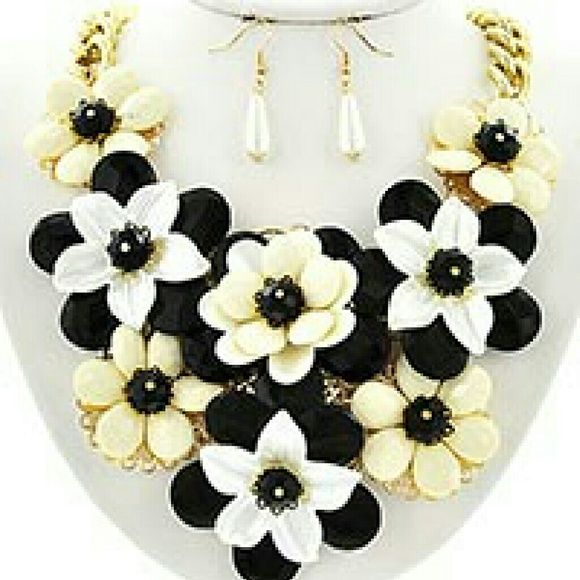 Statement Flower Necklace & Earring Set Beautiful black, white, & cream necklace and earring set. Accented in gold. Brand new. Never worn. Jewelry Necklaces