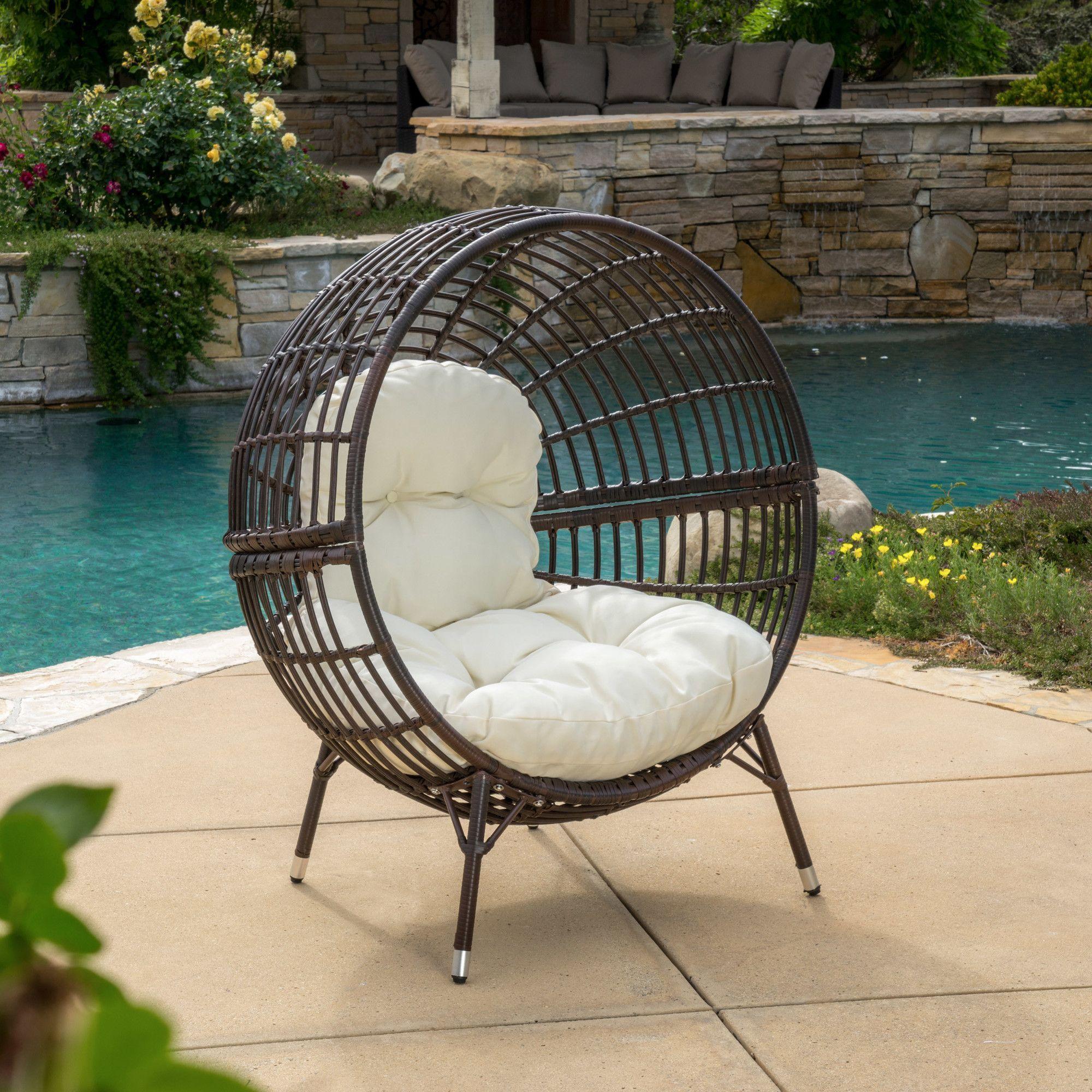 Dermot Multibrown Wicker Lounge Ball Chair W Cushion