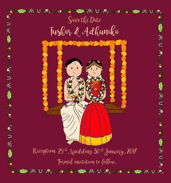 Indian wedding e-invitation with cute caricatures in South Indian
