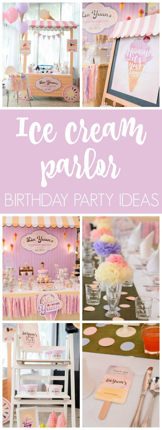 Ice Cream Parlor First Birthday Party #icecreambirthdayparty