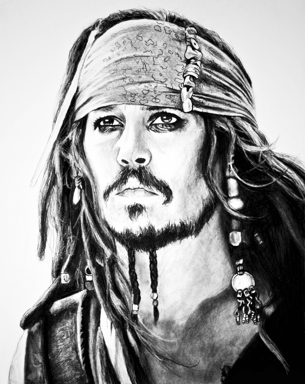 Hochwertigen Druck von meinem Jack Sparrow Kohlezeichnung. 3 ...
