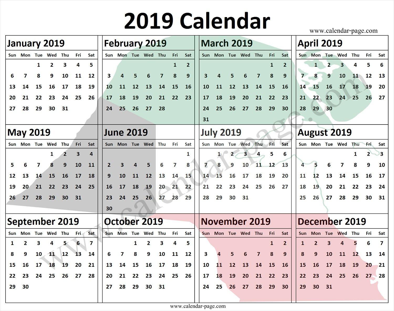Kuwait Calendar 2019 Blank 2019 Calendar Pdf Calendar 2019