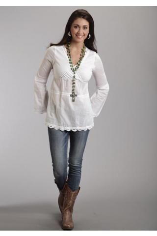 White+Cotton+Voile+Peasant+Blouse+Stetson+Ladies+Collection-+Summer+I+Long+Sleeve+Urban+