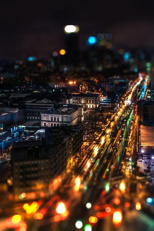 Artistic Realistic Nature City Lights At Night Cityscape Landscape