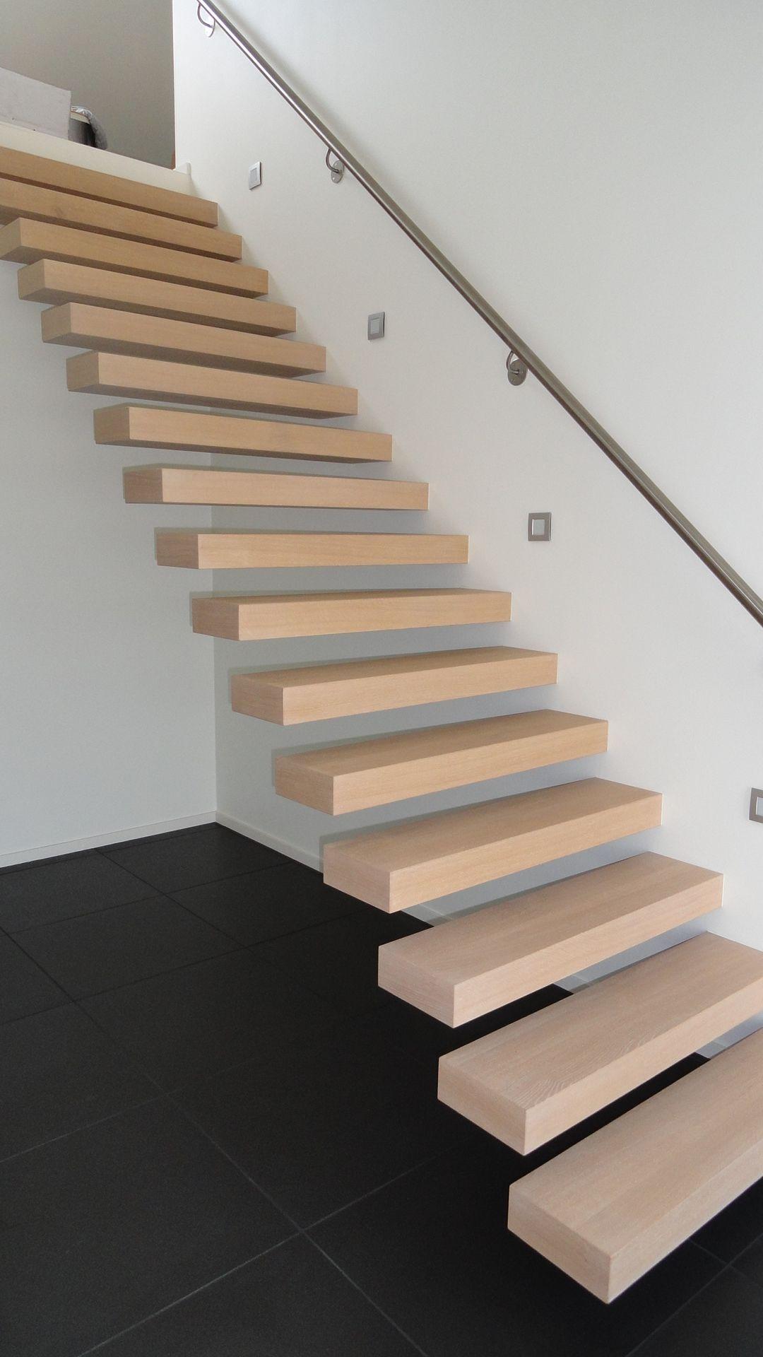 zwevende trap treden in franse eik trappen pinterest