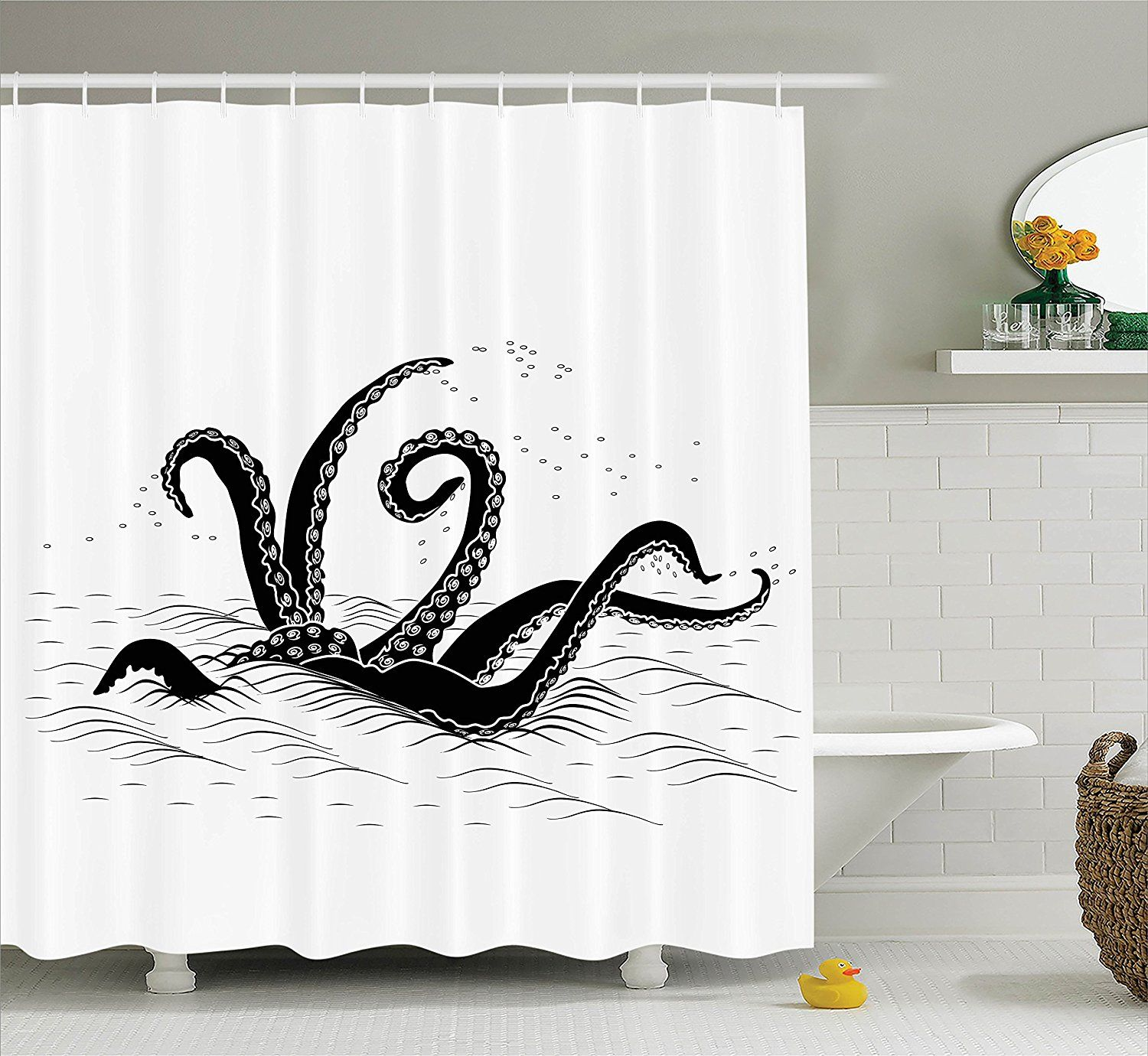 Fun Shower Curtain unique octopus kraken shower curtains - tentacles coming out of