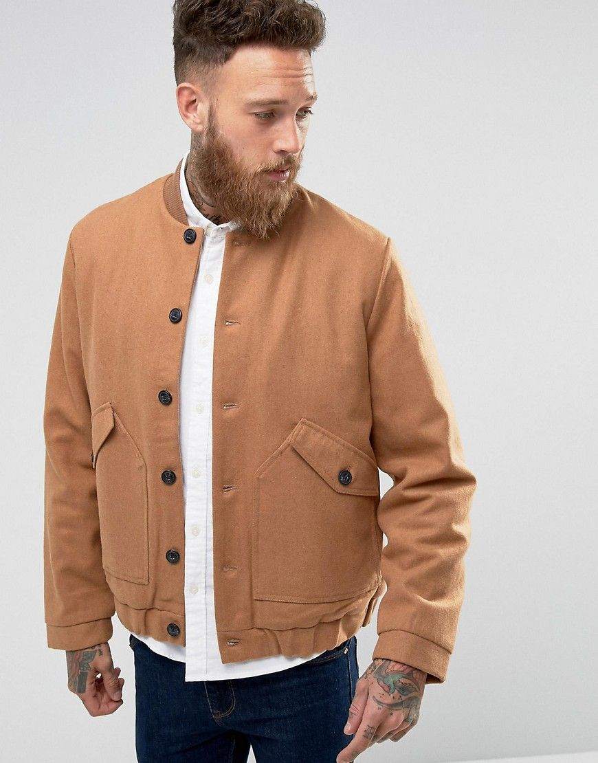 Wool mix bomber jacket with fleece lining in camel products