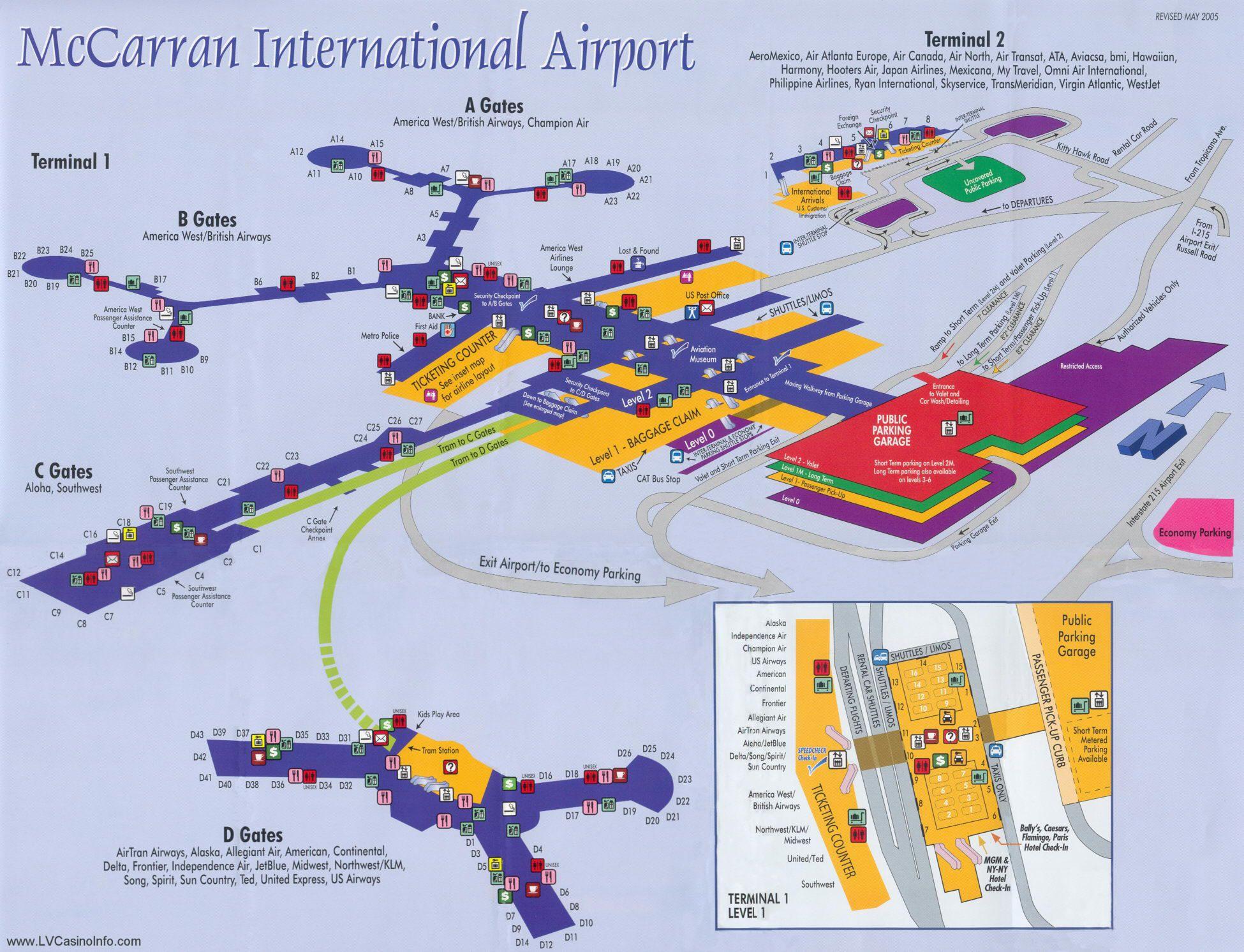 Mccarran International Airport Map Mapa del Aeropuerto Internacional McCarran de Las Vegas | Las