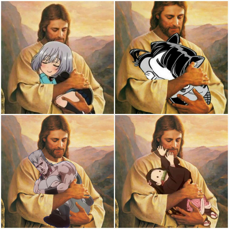 Jesus Holding Cute Anime Manga Girls Otaku Meme Anime Dank