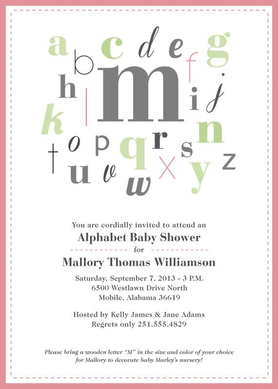Alphabet Baby Shower Invitation #pink #alphabet #printable Baby - baby shower invitation letter