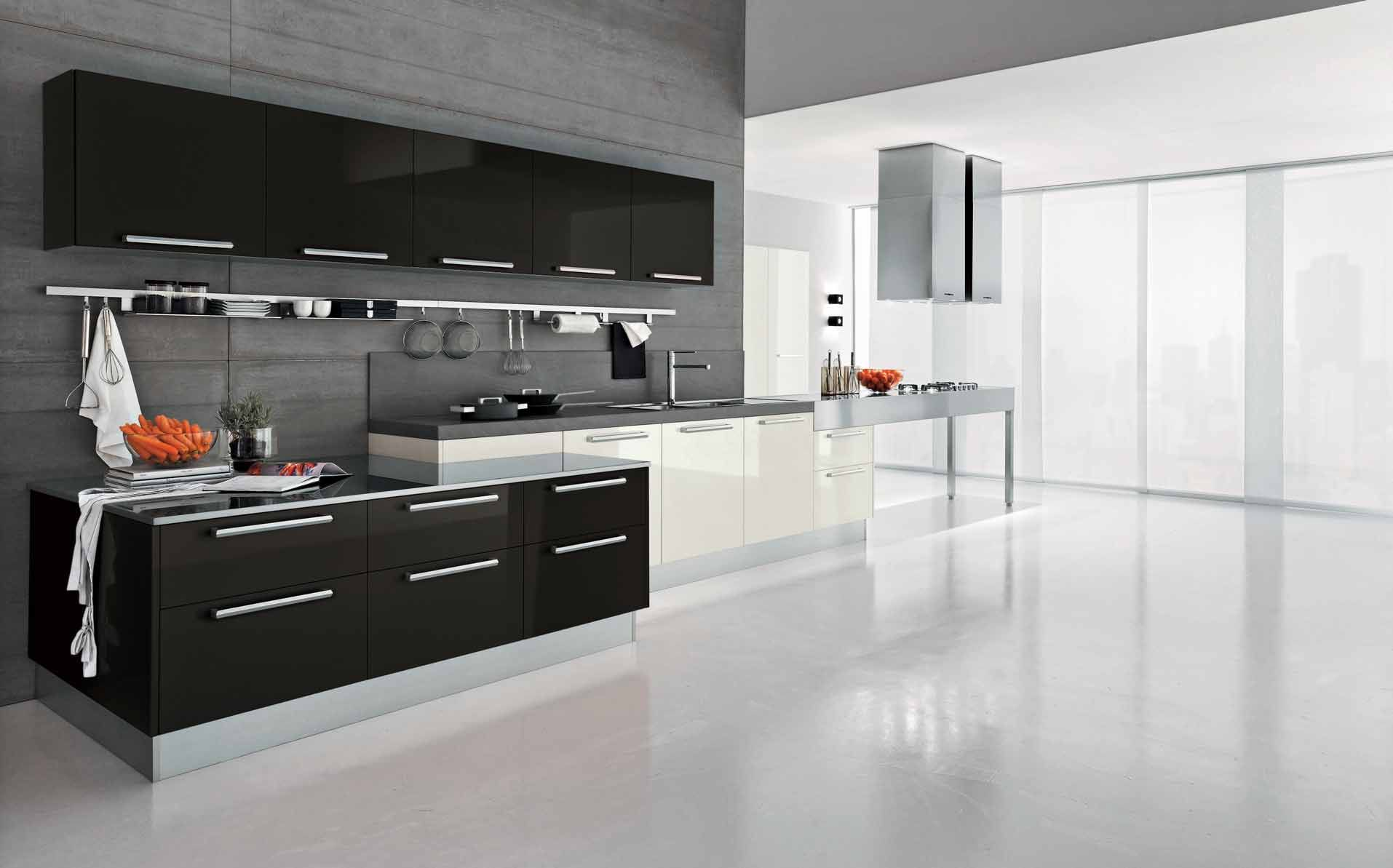 Black And White Modern Glossy Kitchen Cabinet Gray Stained ...