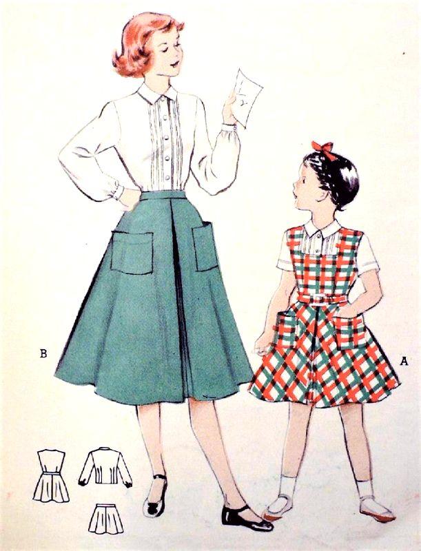 1950s CUTE Little Girls Skirt, Blouse and Jumper Pattern BUTTERICK ...