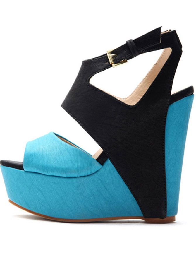 c343589cfb958d Heel Height Platform Blue and Black Color Blocking PU Sandals ...