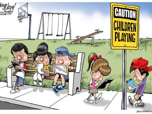 Varvel S Take On Children Playing Mobile Devices Kids Playing