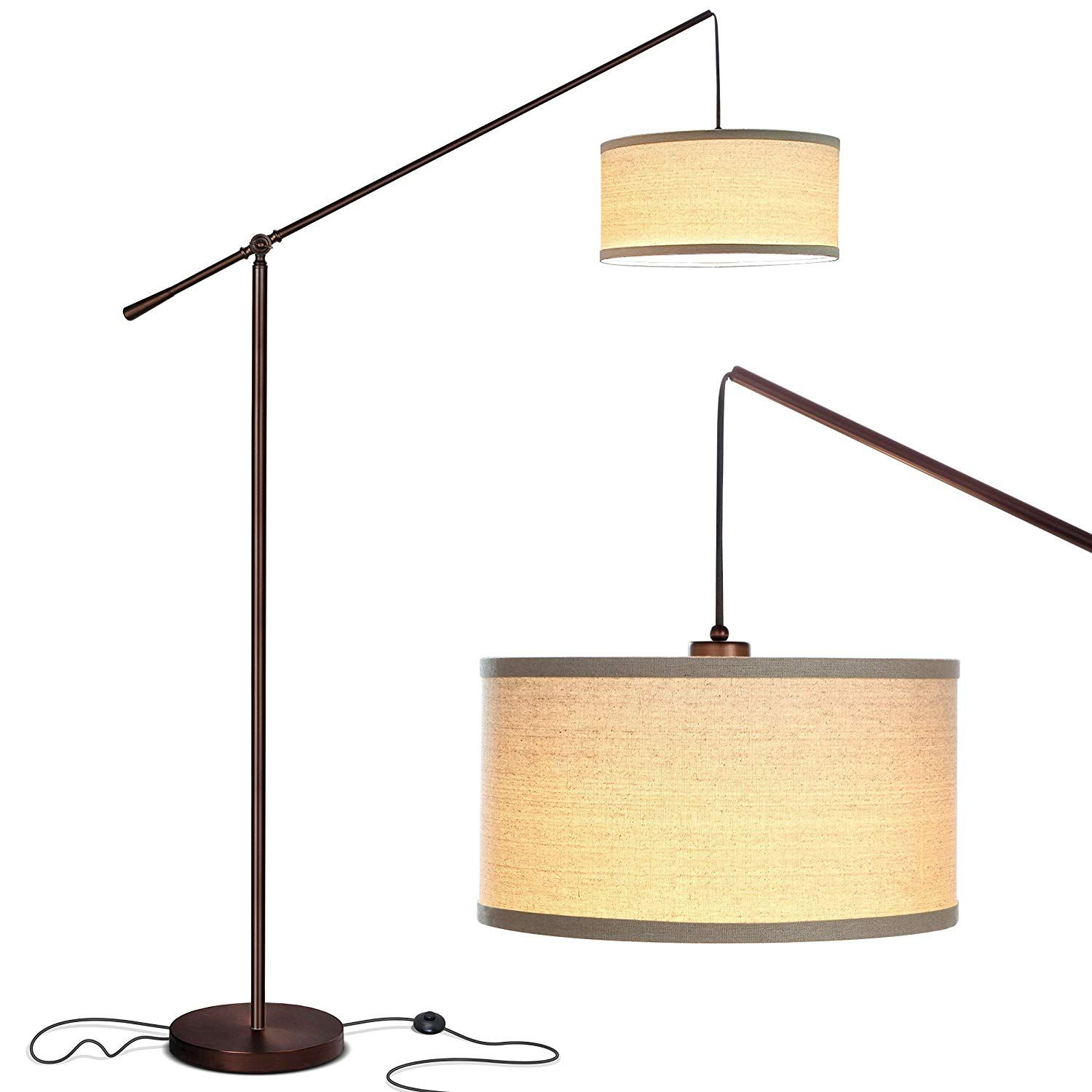 Brightech Hudson 2 Living Room Led Arc Floor Lamp For Behind The Couch Pole Hanging Light To St Hanging Floor Lamp Modern Lamps Living Room Arc Floor Lamps