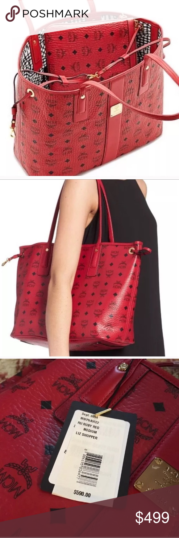 Authentic NEW mcm red liz medium tote w pouch This is a