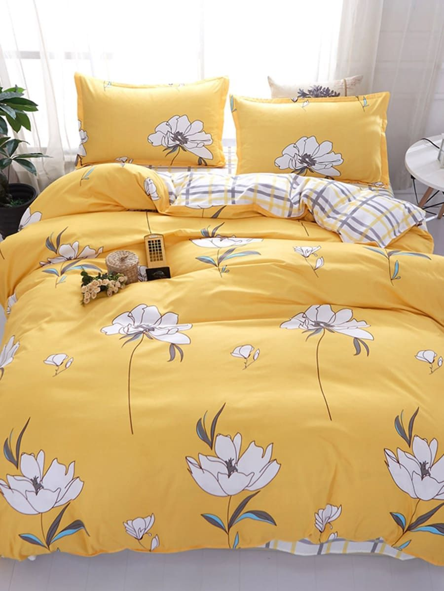 Flower & Gingham Print Sheet Set SHEIN Bed linen