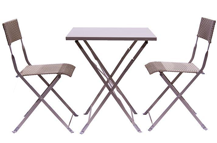 Fotos. Conjunto de sillas y mesas plegables Capella blanco.