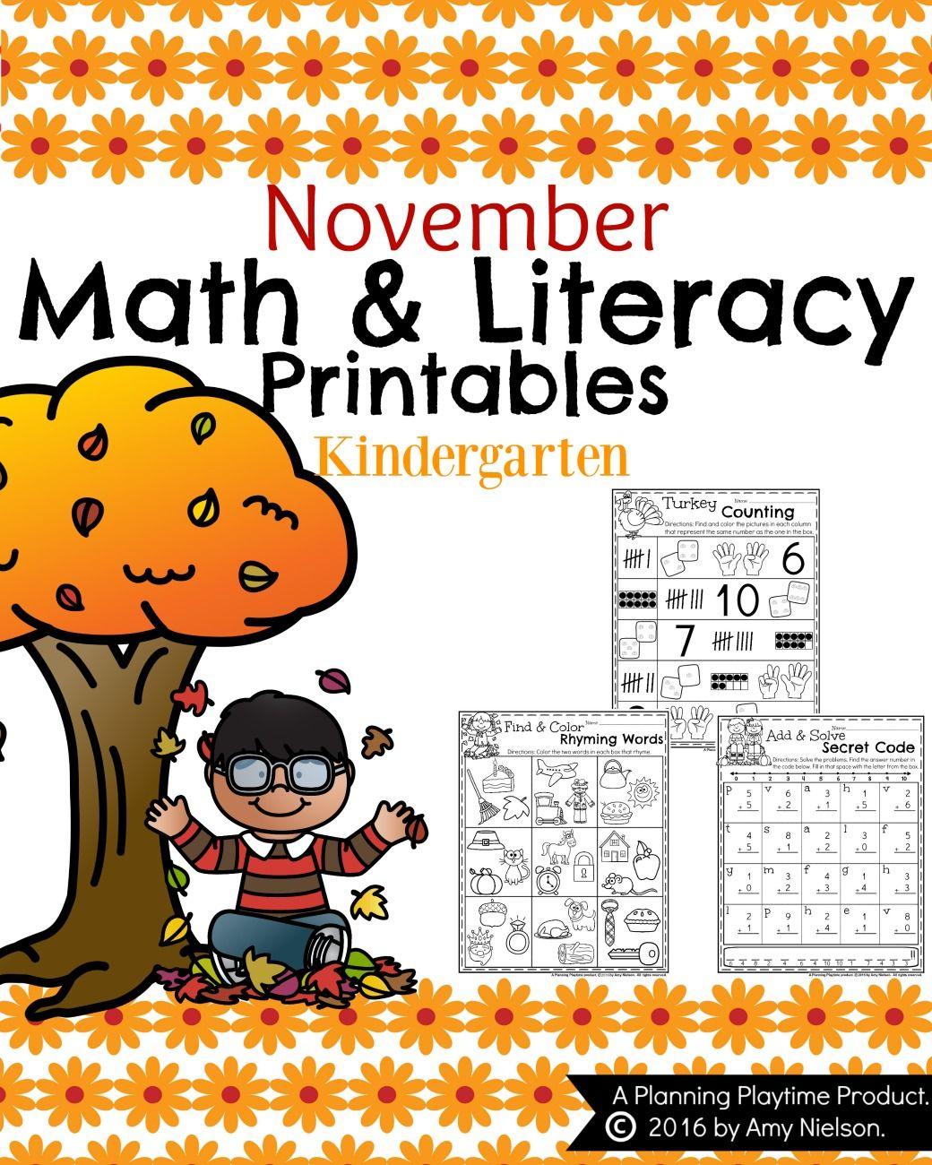 Fall Kindergarten Worksheets For November