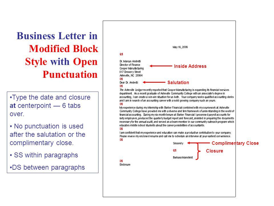 Business Letter Modified Block Style With Open Punctuation
