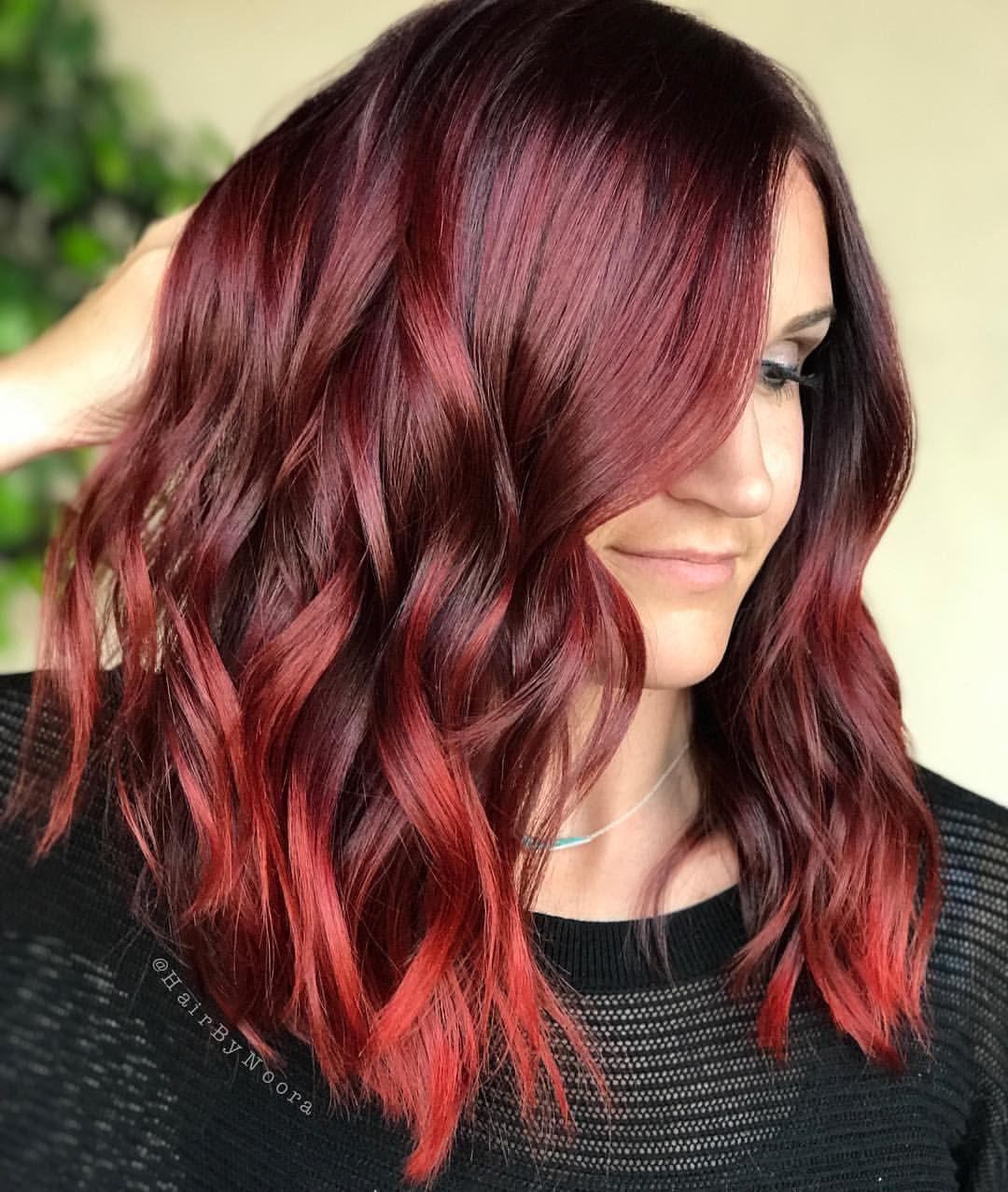 283 Curtidas 8 Comentarios Noora A Ahmad Hairbynoora No Instagram G I R L On F I R E I Just Can T Ge Wine Hair Maroon Hair Red Balayage Hair