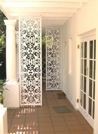 """Double layer curtain with black lacework """"screen"""" painted on…"""