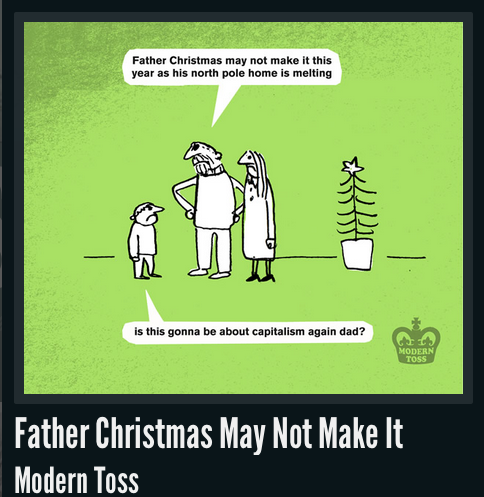 Father Christmas May Not Make It Modern Toss #savesanta #greenpeace #moderntoss #cards #artist
