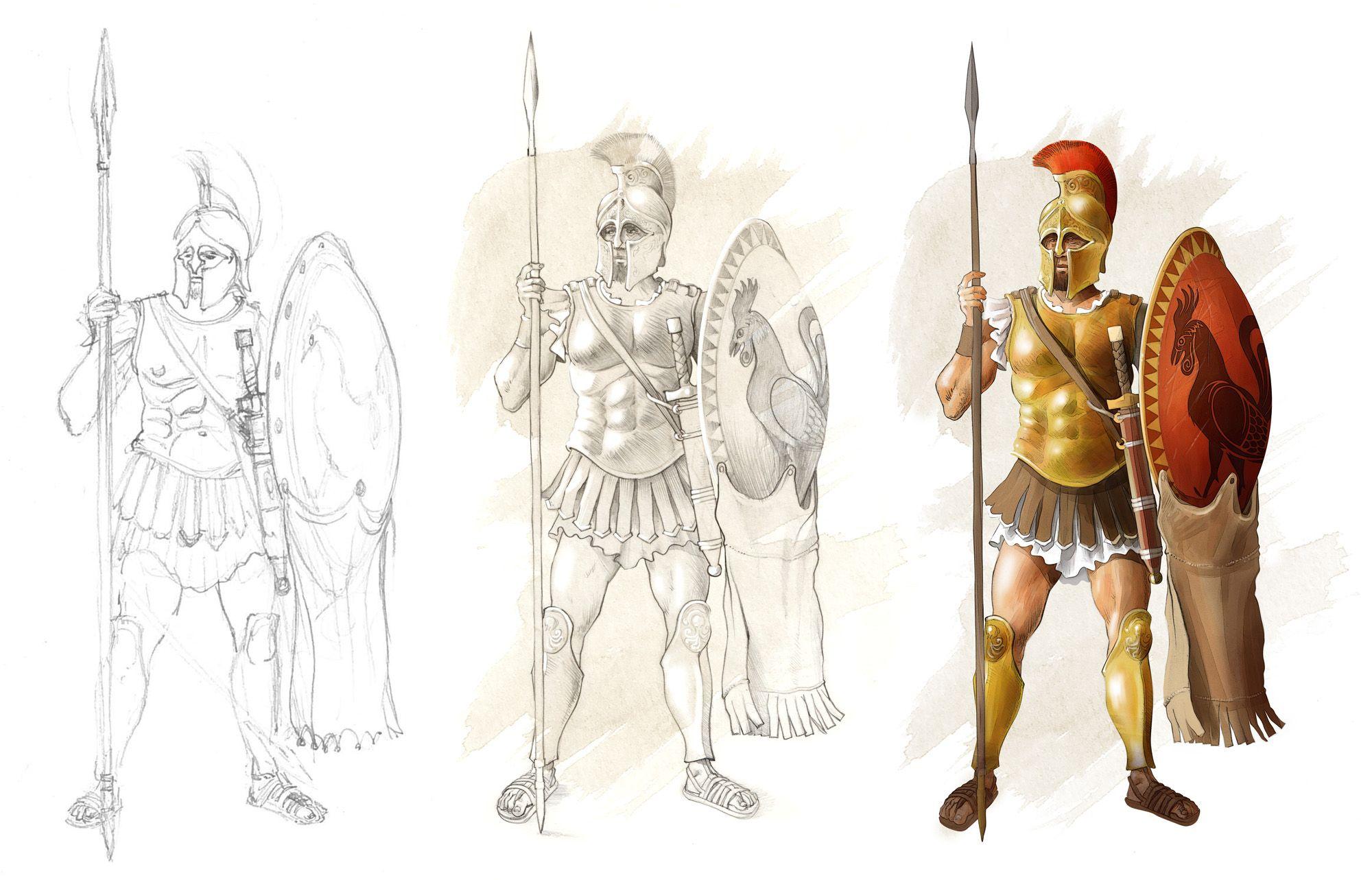 Aquí un hoplita ateniense clásico, con el simbolo del gallo en el ...