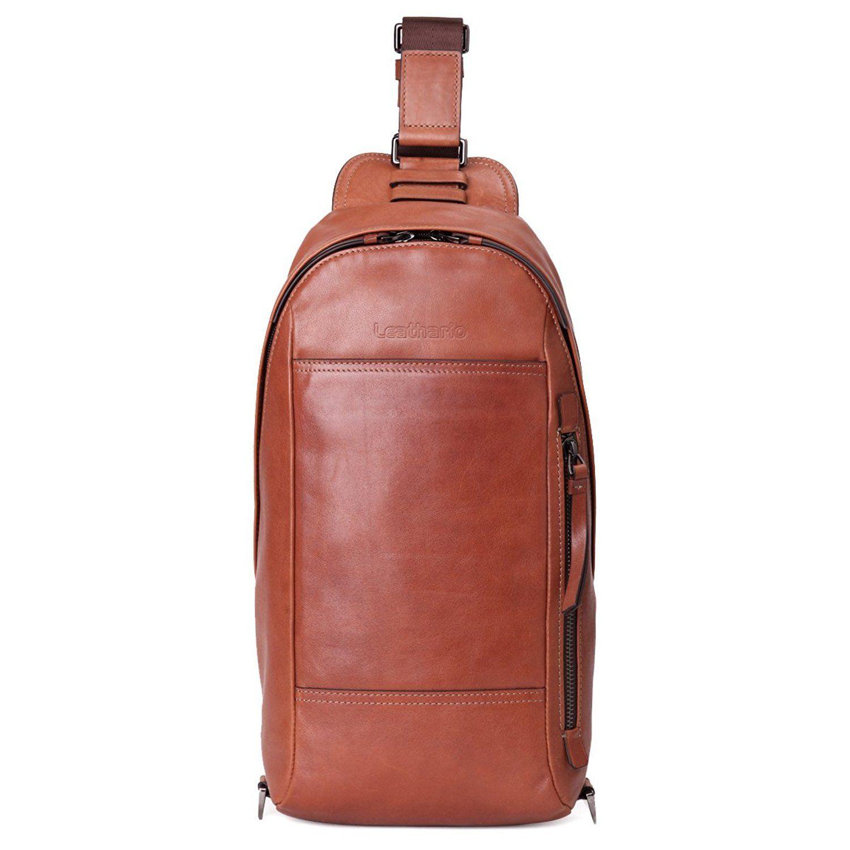 Leathario Men PU Chest Bag Shoulder Bag Crossbody Casual Bag Pack Multipurpose