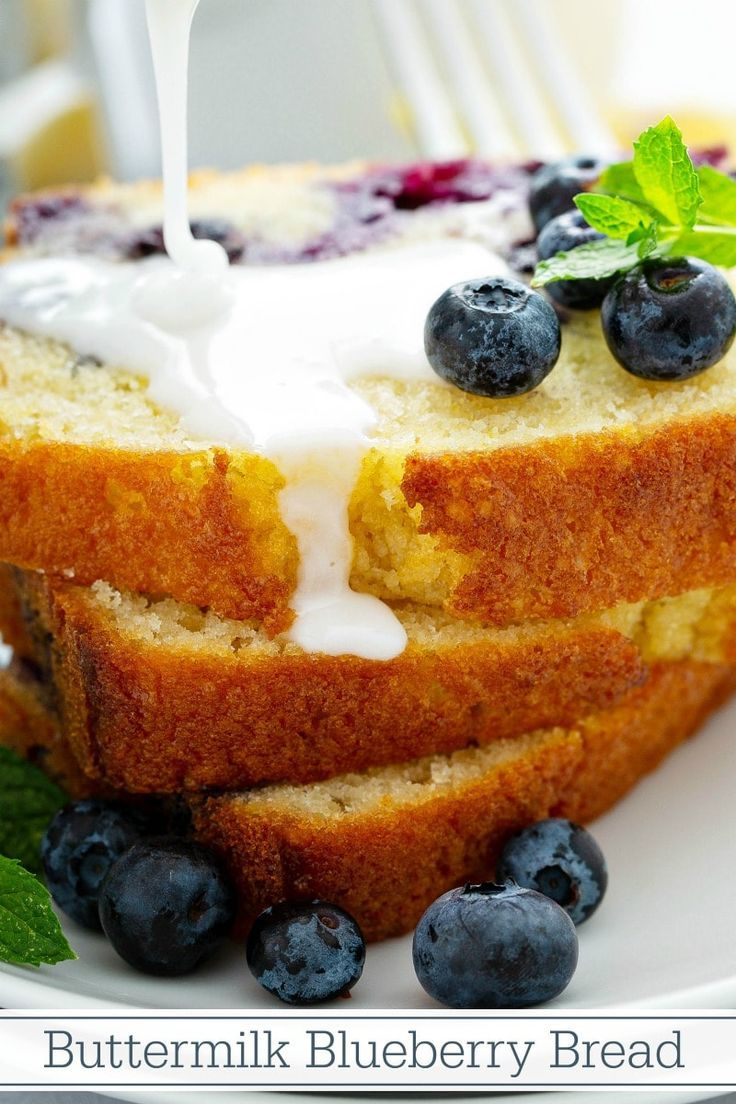 This Buttermilk Blueberry Bread Is Filled With Fresh Blueberries And Zesty Lemon Or Lime Zest Drizzle It Wit Dessert Recipes Sweet Recipes Easy Pineapple Cake