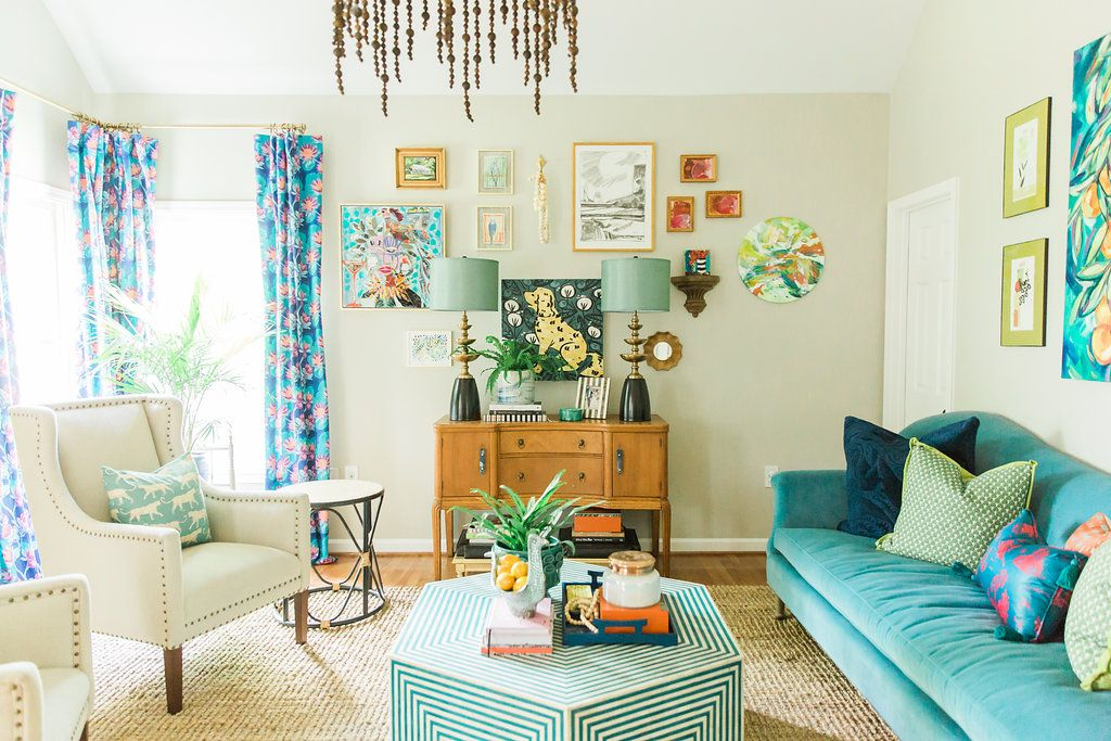 Amanda Louise Interiors One Room Challenge Reveal Spring 2017 Color Happy Living Room Happy Living Rooms Colorful Living Room Bright Indian Living Rooms