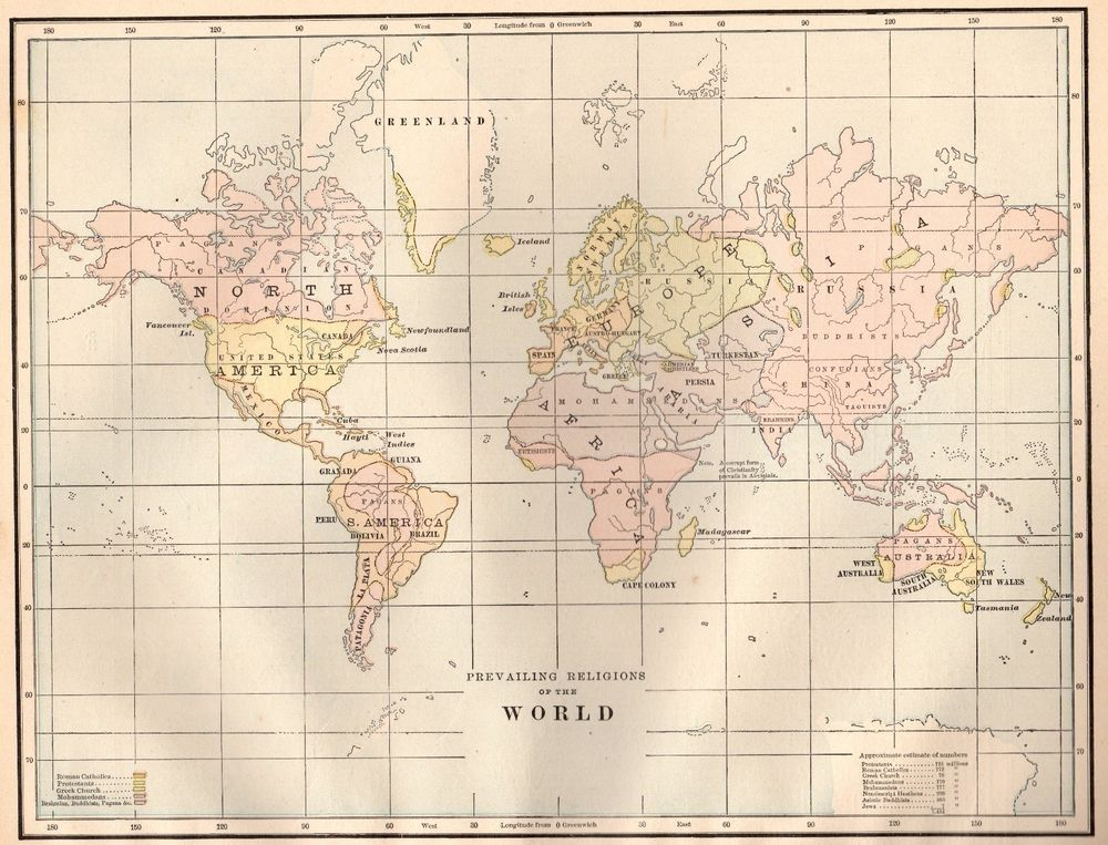 1886 antique world map of the world religions map gallery wall art 1886 antique world map of the world religions map gallery wall art 3210 gumiabroncs Gallery