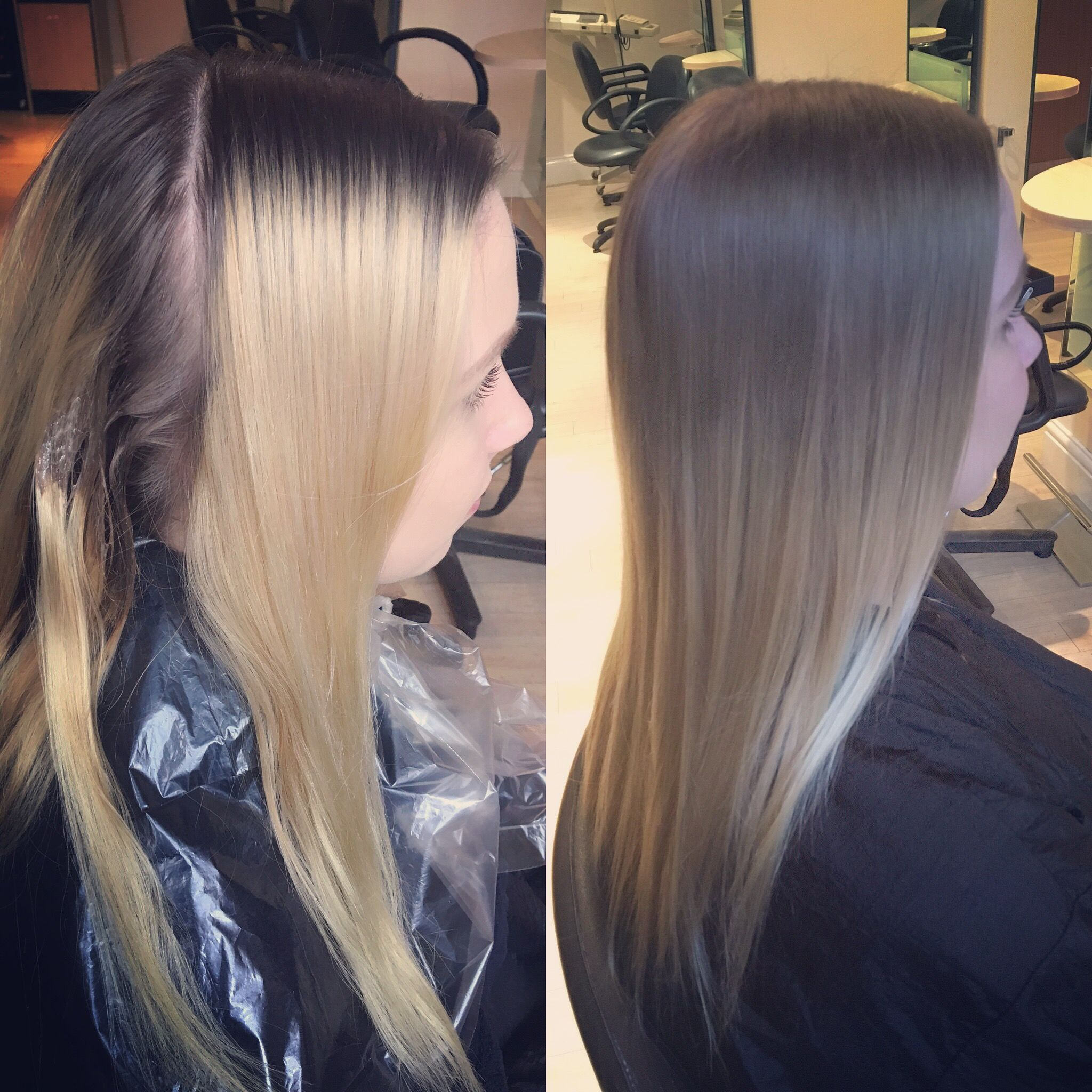 Grown Out Roots To Natural Blending Ombre Before And After Ombre Hair Hair Grow Out