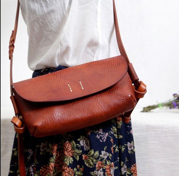 handmade vintage  Messenger leather Bag small w Faninabags na DaWanda.com