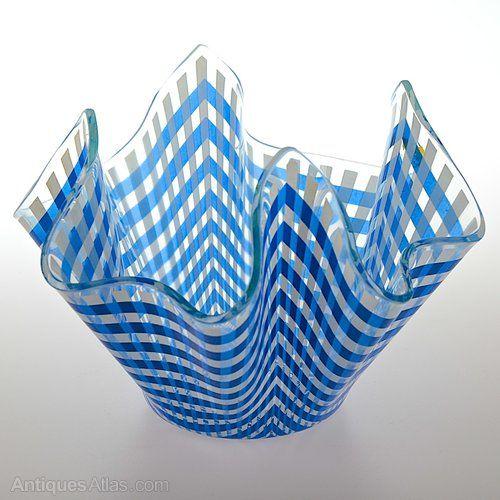 Chance Handkerchief Blue Gingham Glass Vase Blue Glass Vase