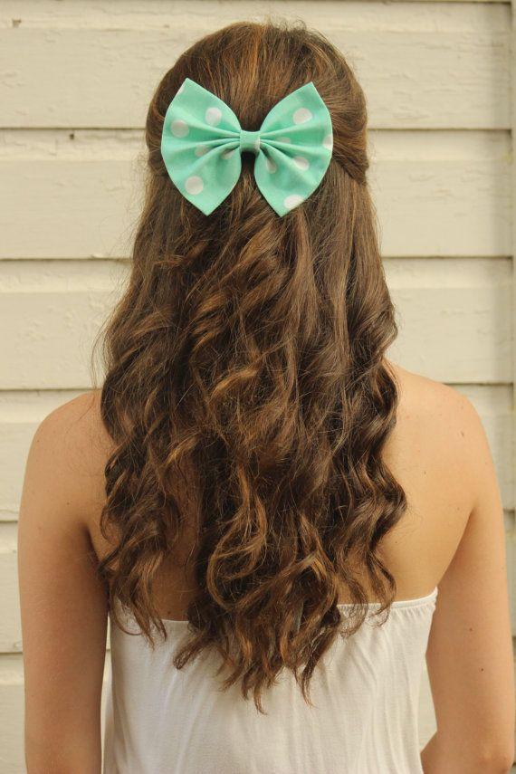 aqua and white polka dot hair bows