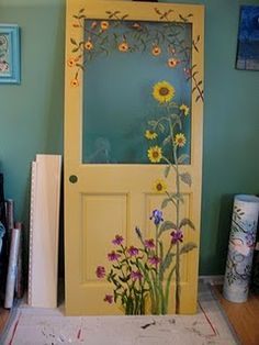 Maybe on my back door.   sunflower painted door: another idea for the old windows I'm going to decorate for the garden.