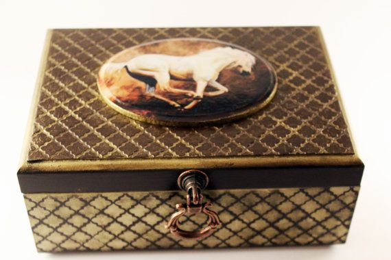 Tea box horse Elegant gift for men personalized jewelry box mens