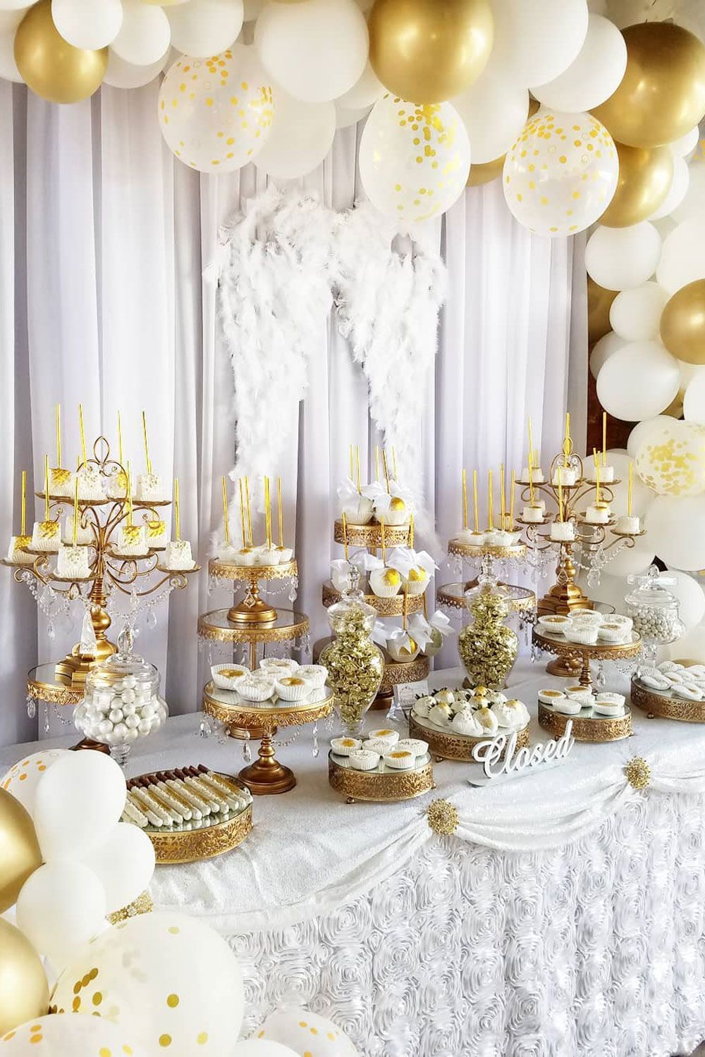 Baptism Candy Table By Blossomcreations10 Featuring All Gold Amalfi Decor Cake Stands Shop Over Baptism Dessert Table Baptism Desserts White Dessert Tables