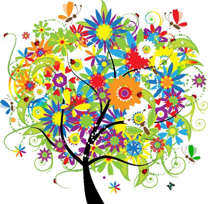 Flores Y Plantas Arboles De Colores Arte De Arboles Ilustraciones Florales