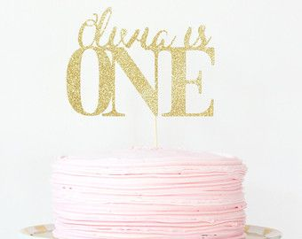 Bachelorette Party Cake Topper Gold Glitter by WhenitRainsPaper